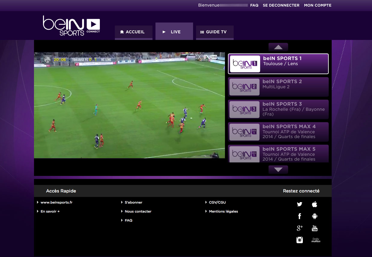 regarder bein sport gratuit en direct sur internet bein sport live hd. Black Bedroom Furniture Sets. Home Design Ideas