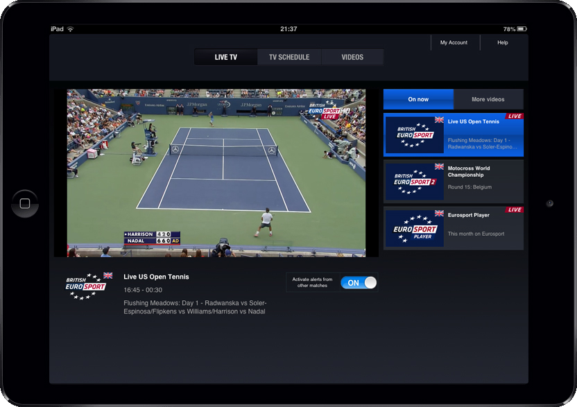 Eurosport direct sur tablette