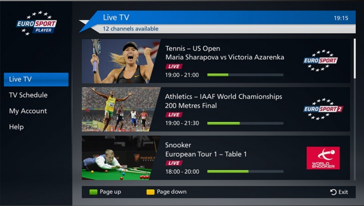 Live Eurosport player TV