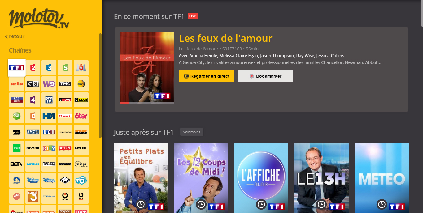 tf1 direct gratuit sans inscription regarder tf1 en live streaming. Black Bedroom Furniture Sets. Home Design Ideas