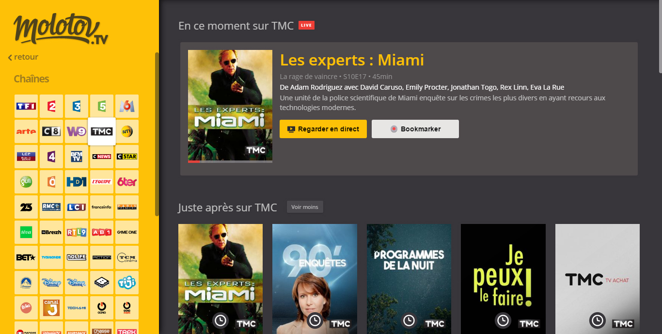 TMC direct sur Molotov TV