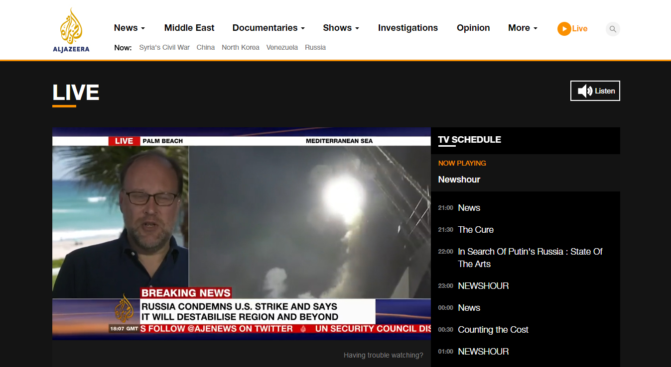 Al Jazeera live streaming