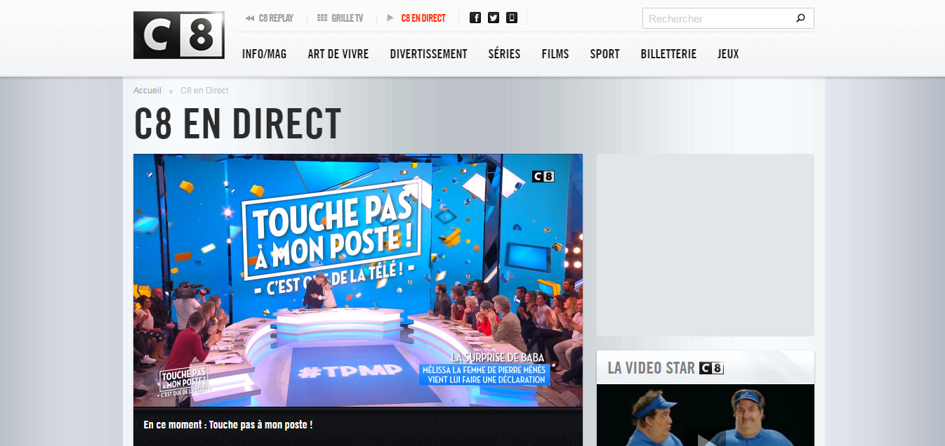 C8 direct sur internet