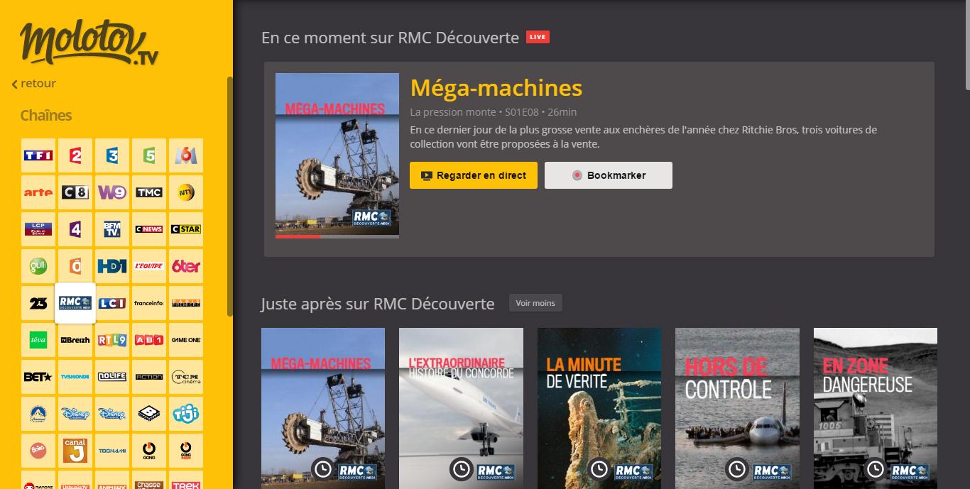 RMC découverte live sur Molotov tv